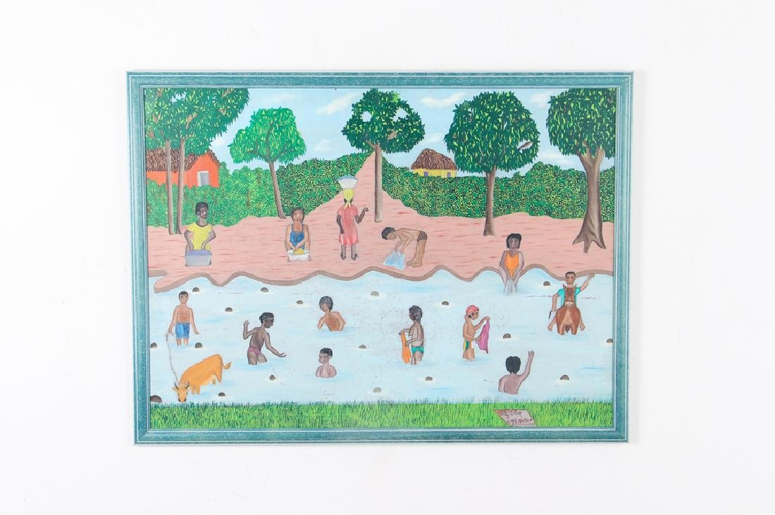 Sully Obin Untitled Haitian Bathing Scene - 2