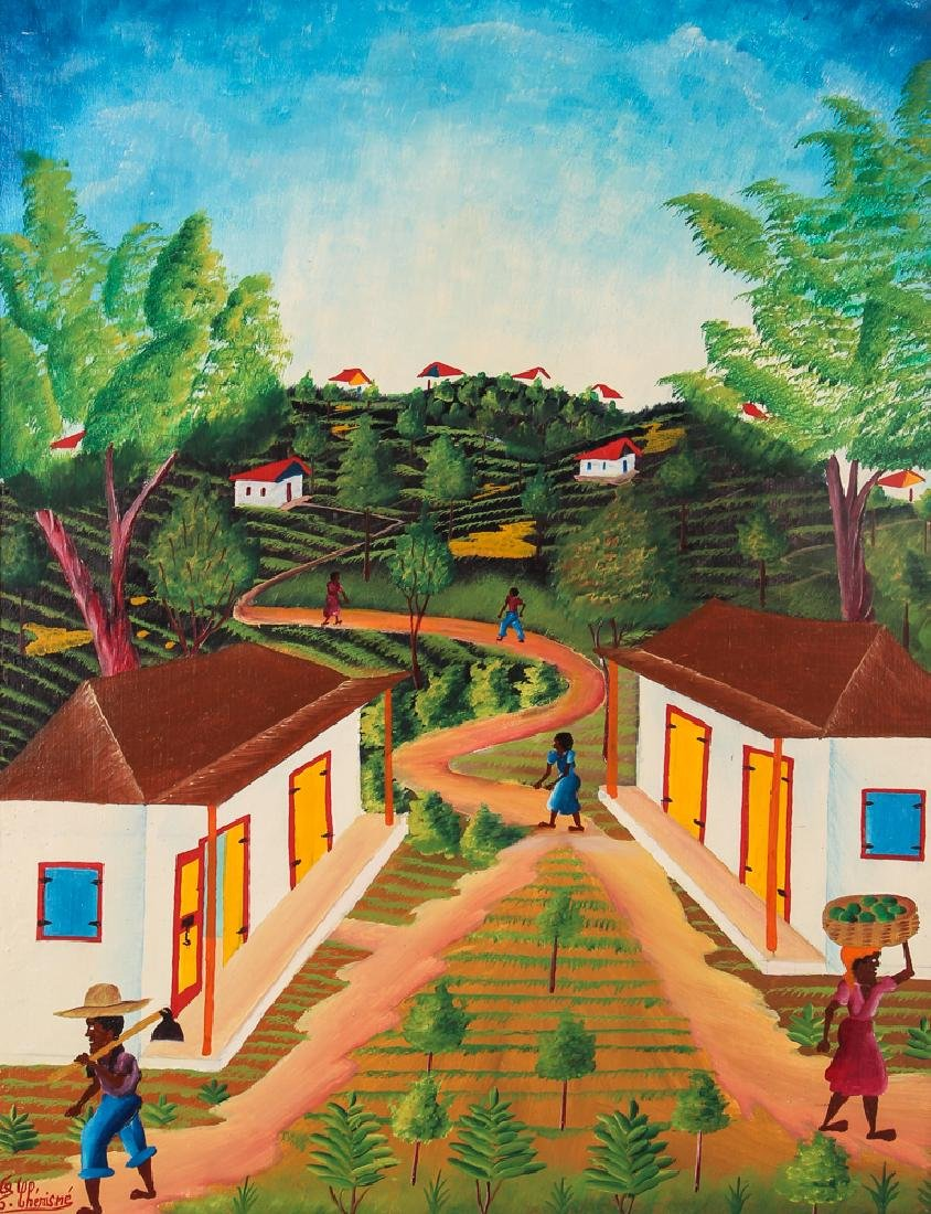 G. Chemisme Haitian Village Painting on Board
