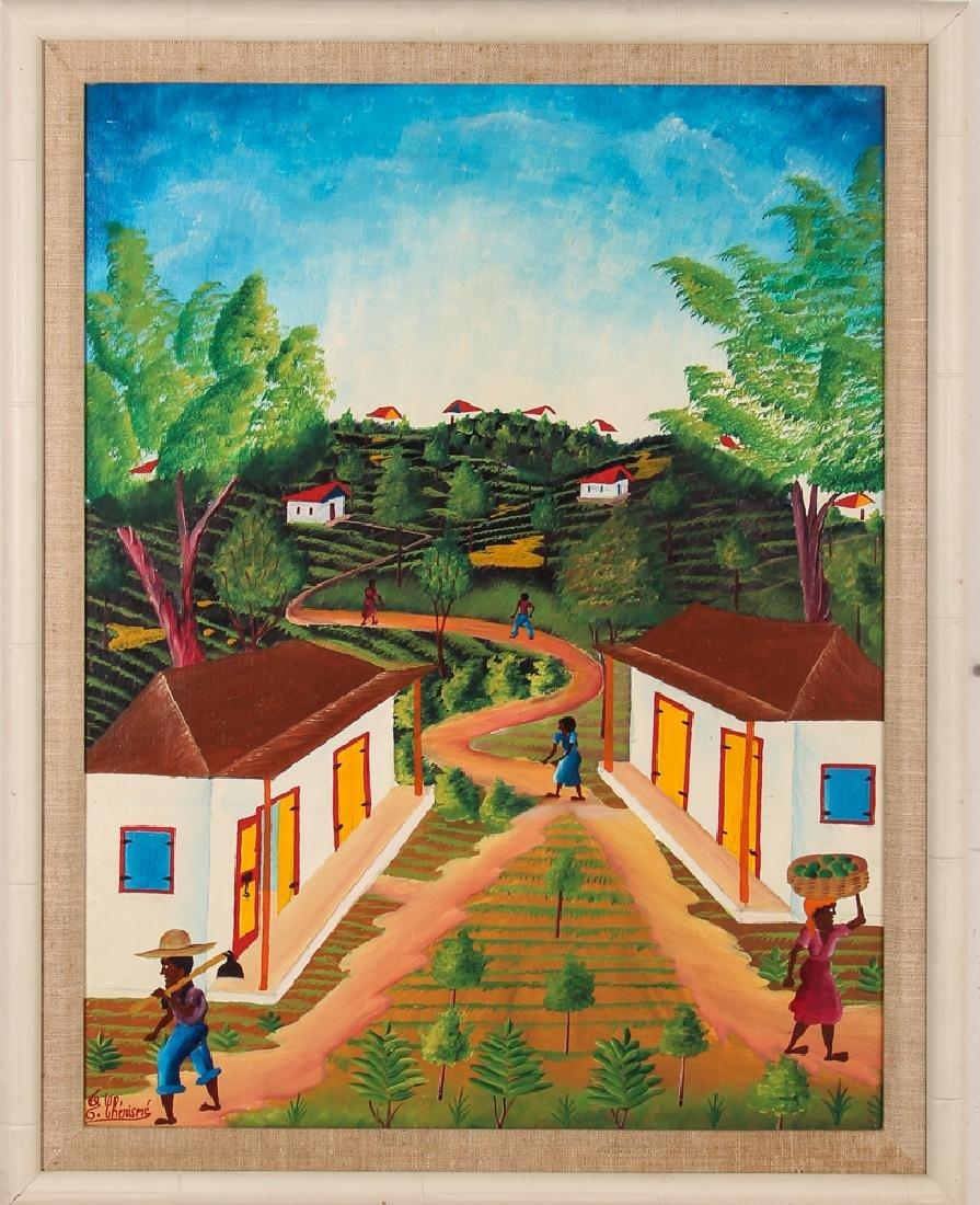G. Chemisme Haitian Village Painting on Board - 2