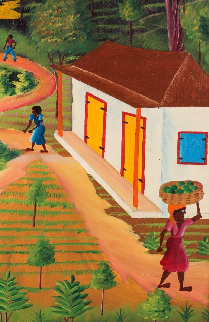 G. Chemisme Haitian Village Painting on Board - 4