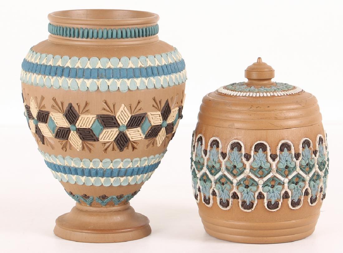 2 Doulton Lambeth Silicon ware Vase and Tobacco Jar