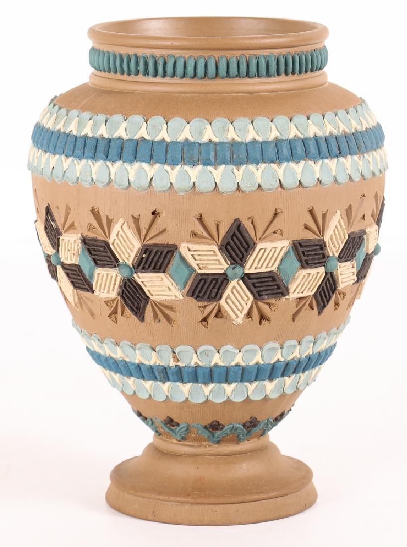 2 Doulton Lambeth Silicon ware Vase and Tobacco Jar - 2