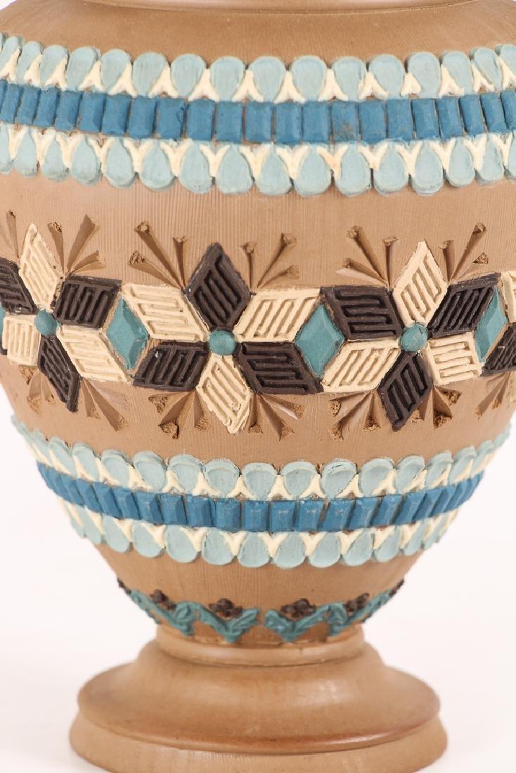 2 Doulton Lambeth Silicon ware Vase and Tobacco Jar - 4