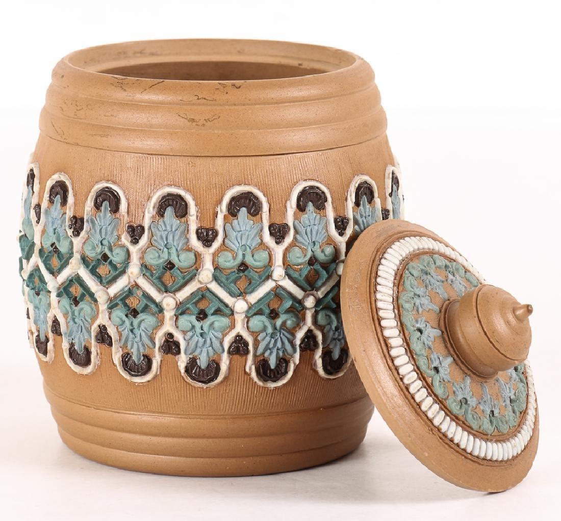 2 Doulton Lambeth Silicon ware Vase and Tobacco Jar - 6