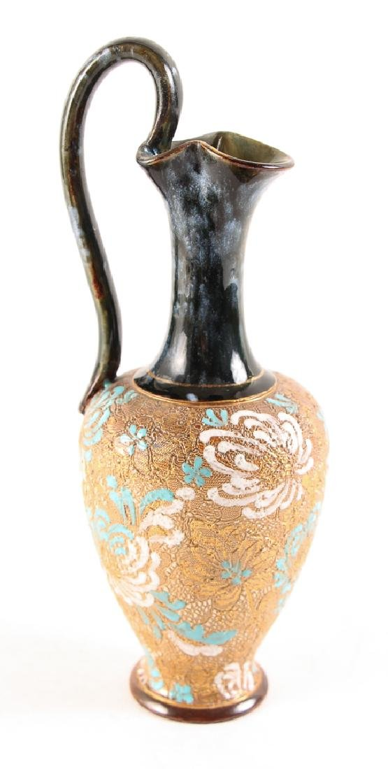 Doulton Lambeth Ewer with gilded textured body