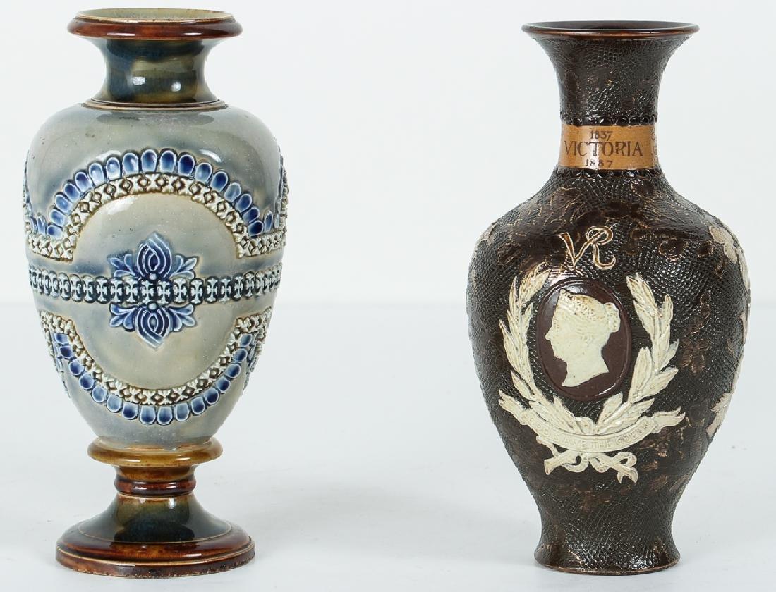 2 Doulton Lambeth Vases, Queen Victoria Bud Vase and