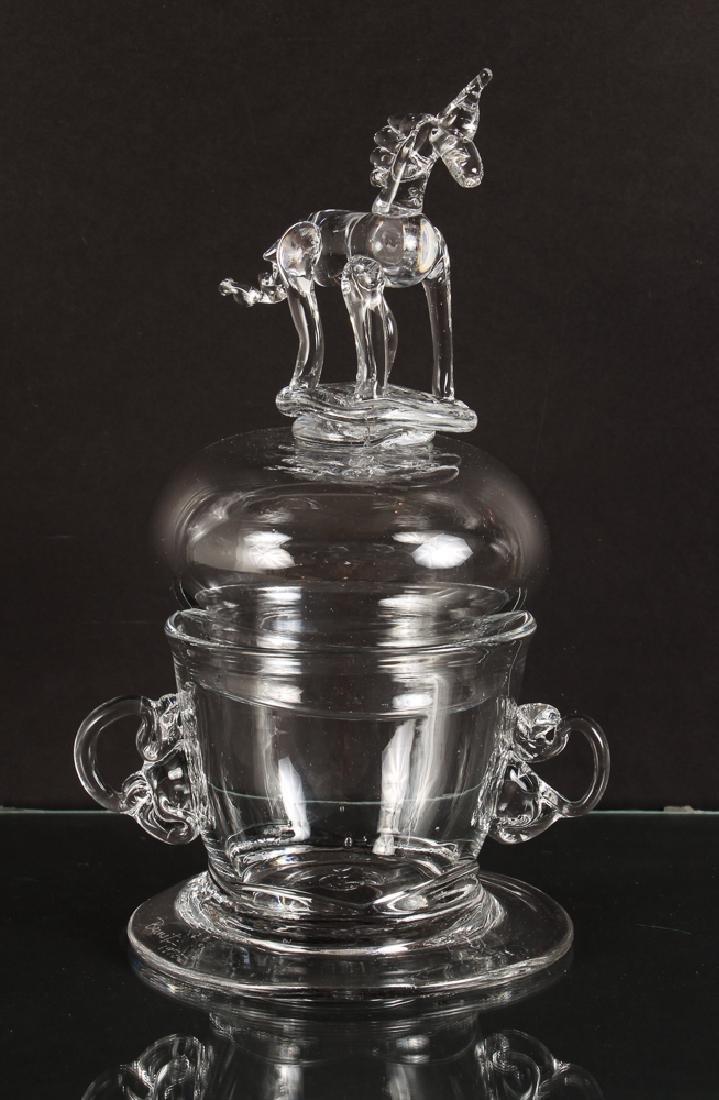 Bernot Glass Unicorn Vessel in Steuben Style