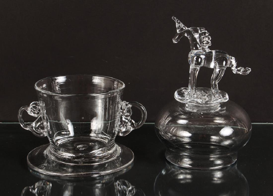 Bernot Glass Unicorn Vessel in Steuben Style - 3