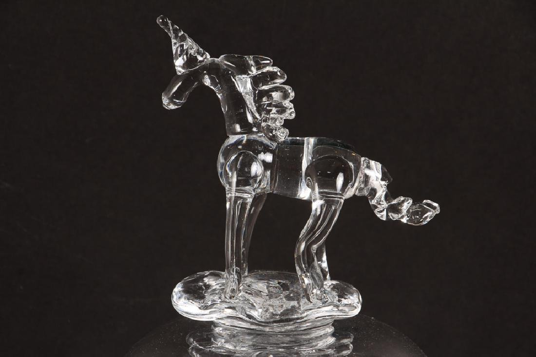Bernot Glass Unicorn Vessel in Steuben Style - 4