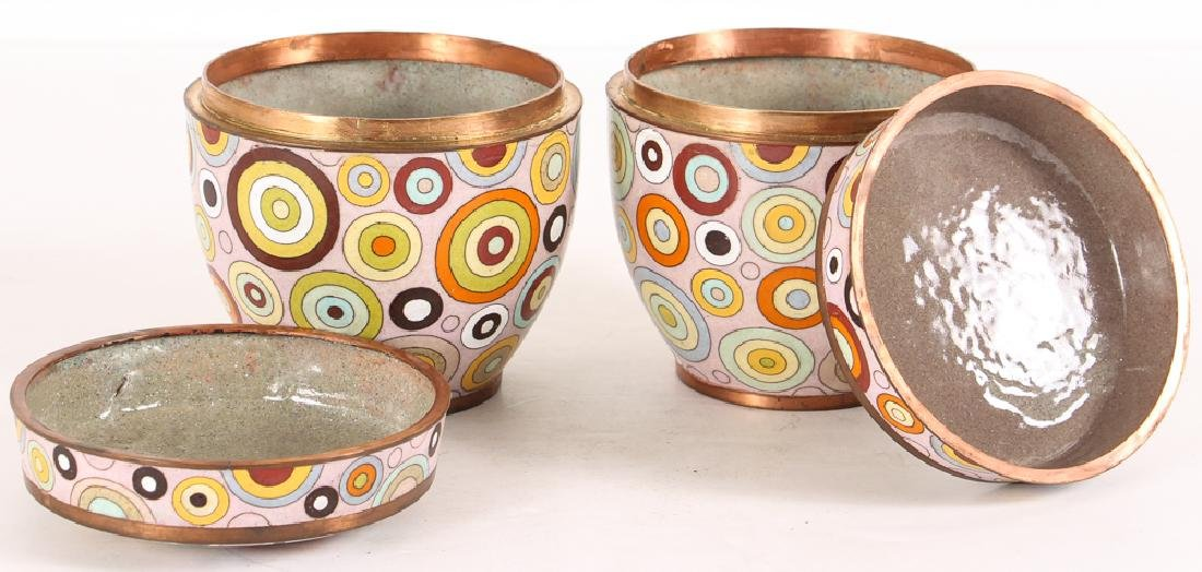 Pair Fabienne Jouvin Rondo Cloisonne Jars - 2