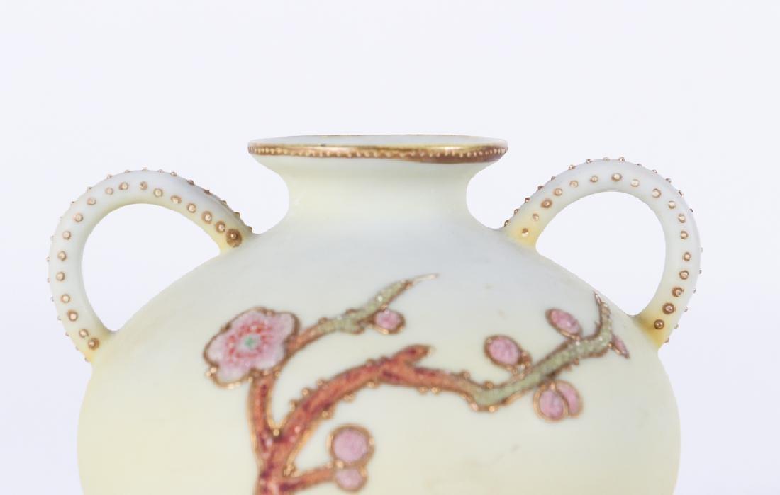 Nippon Pottery Coralene Decorated Vase - 7
