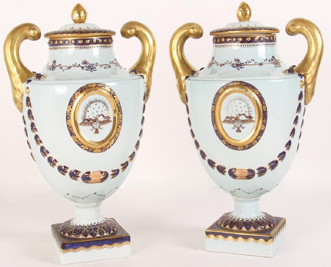 Pair Mottahedeh Lowestoft Federal Eagle Urns