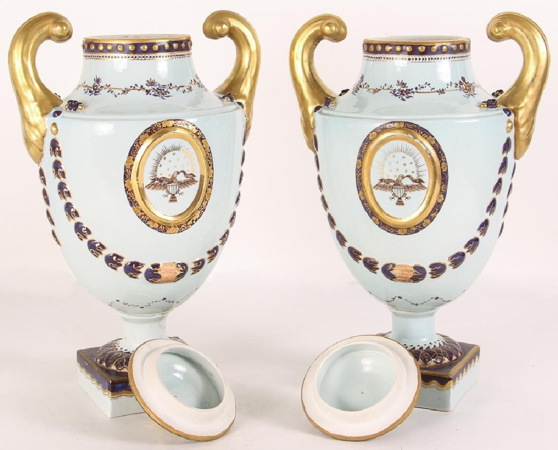 Pair Mottahedeh Lowestoft Federal Eagle Urns - 2