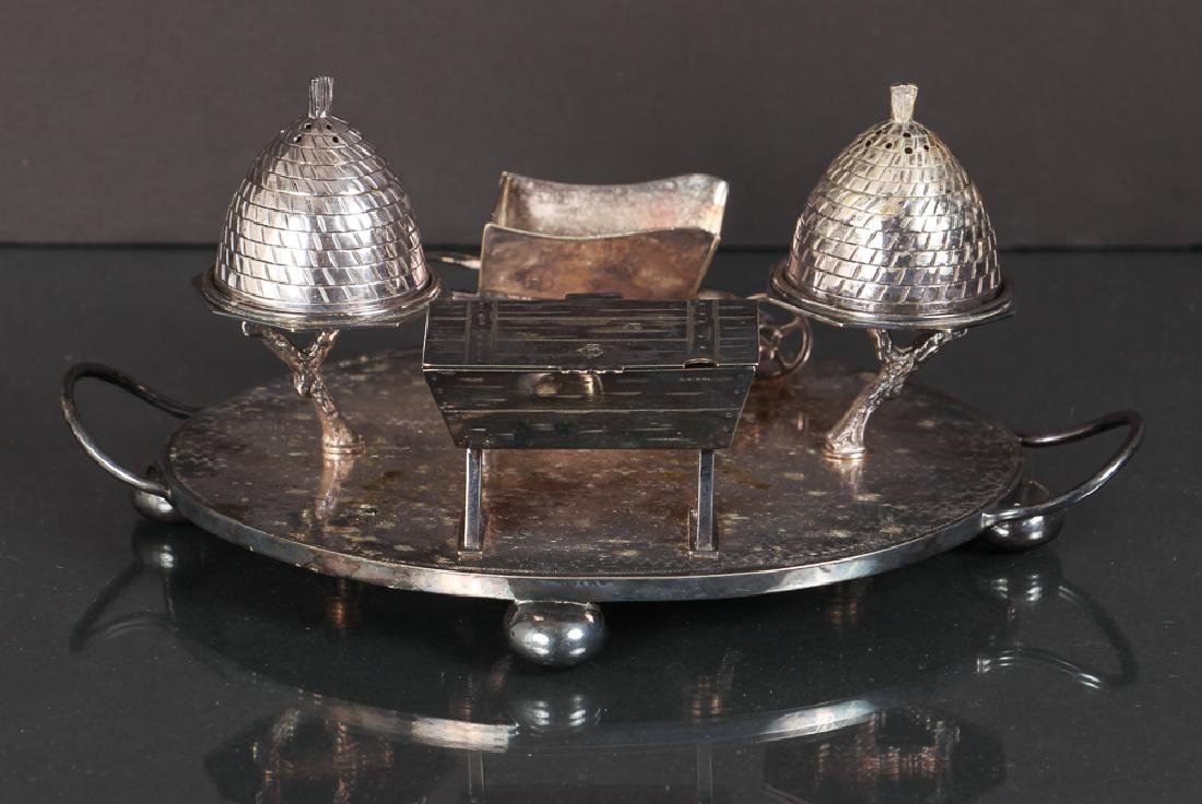 Unusual English Silverplate Condiment Set