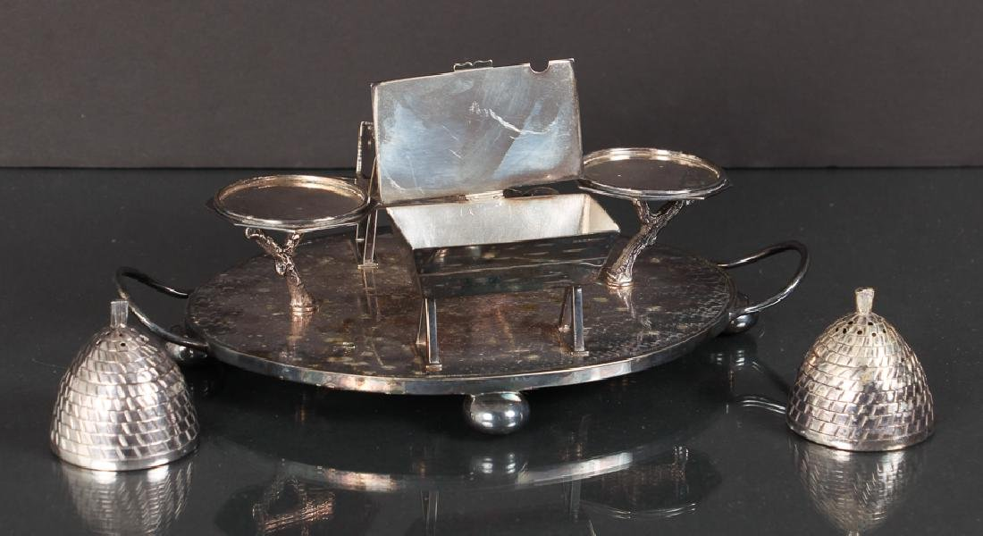 Unusual English Silverplate Condiment Set - 2