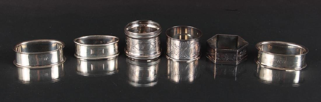 Six Sterling Silver Napkin Rings