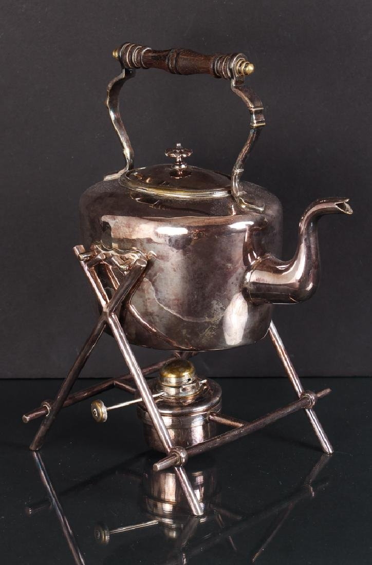 Antique Silverplate Tea Kettle on Stand