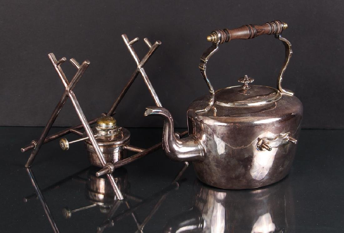 Antique Silverplate Tea Kettle on Stand - 2
