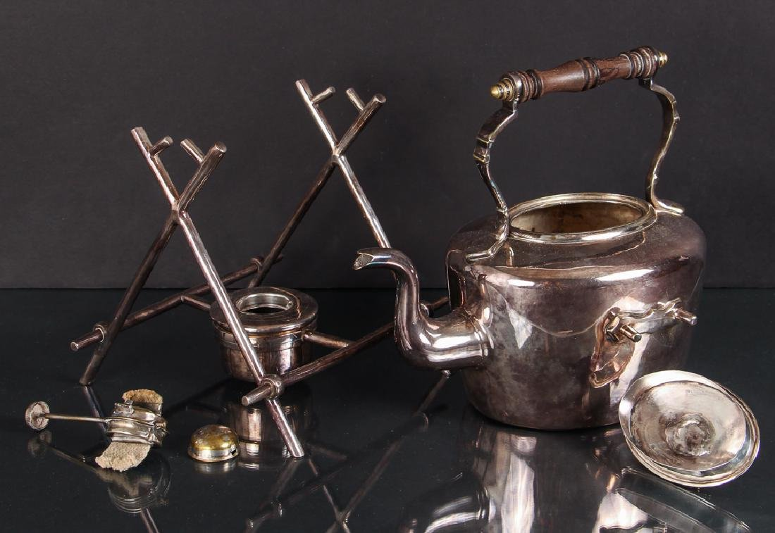 Antique Silverplate Tea Kettle on Stand - 3
