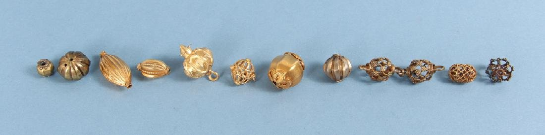 Large Group Goldplated Brass Indian Beads - 2