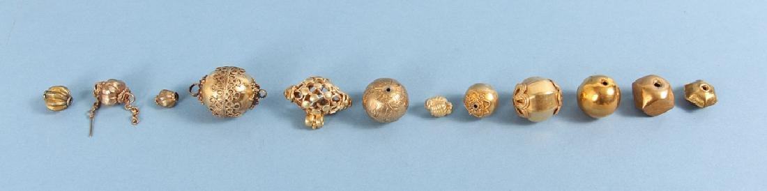 Large Group Goldplated Brass Indian Beads - 6