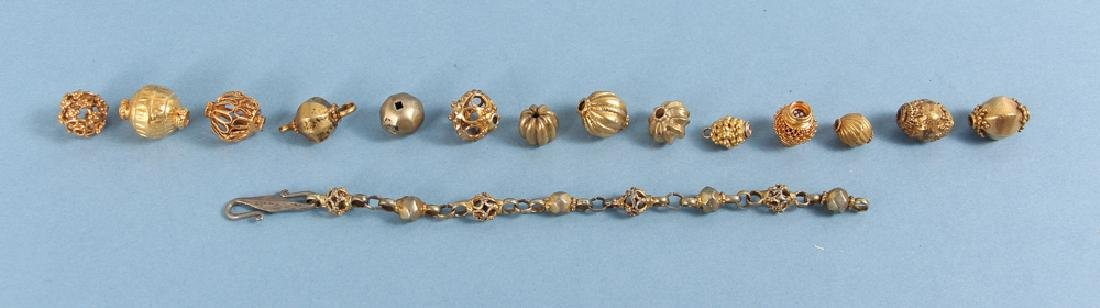 Large Group Goldplated Brass Indian Beads - 8