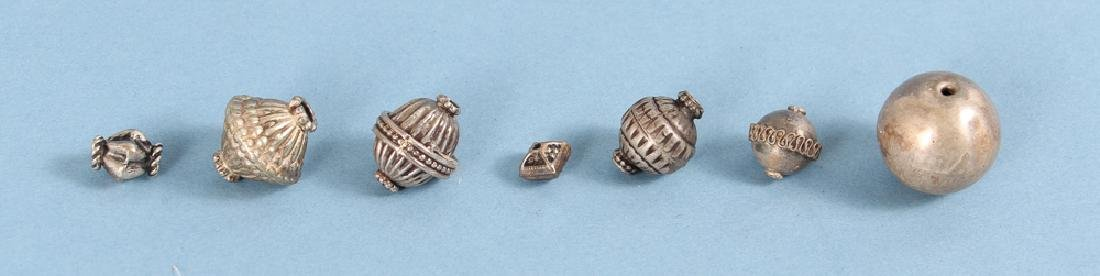Large Group Silverplated Brass Indian Beads - 3