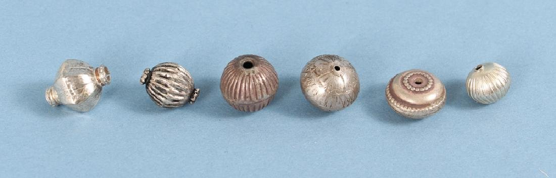 Large Group Silverplated Brass Indian Beads - 8