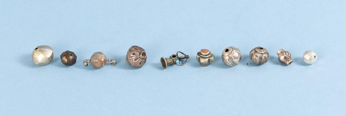 Large Group Silverplated Brass Indian Beads - 10