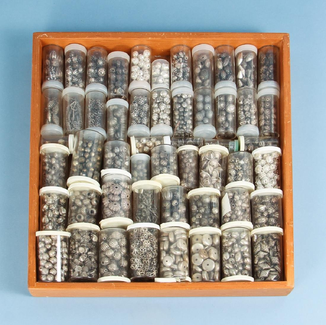 Large Group Silverplated Brass Indian Beads