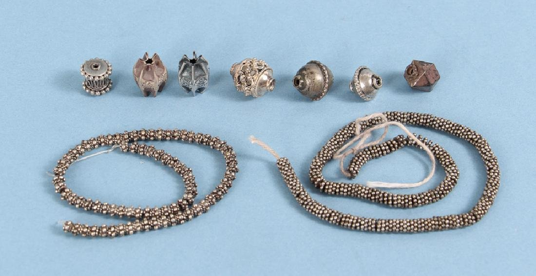 Large Group Silverplated Brass Indian Beads - 4