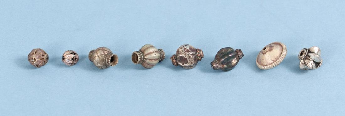 Large Group Silverplated Brass Indian Beads - 6