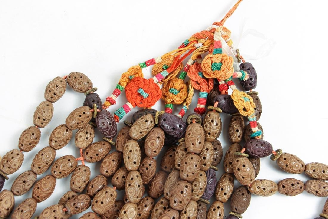Large Group of Chinese Carved Wood Prayer Beads - 3