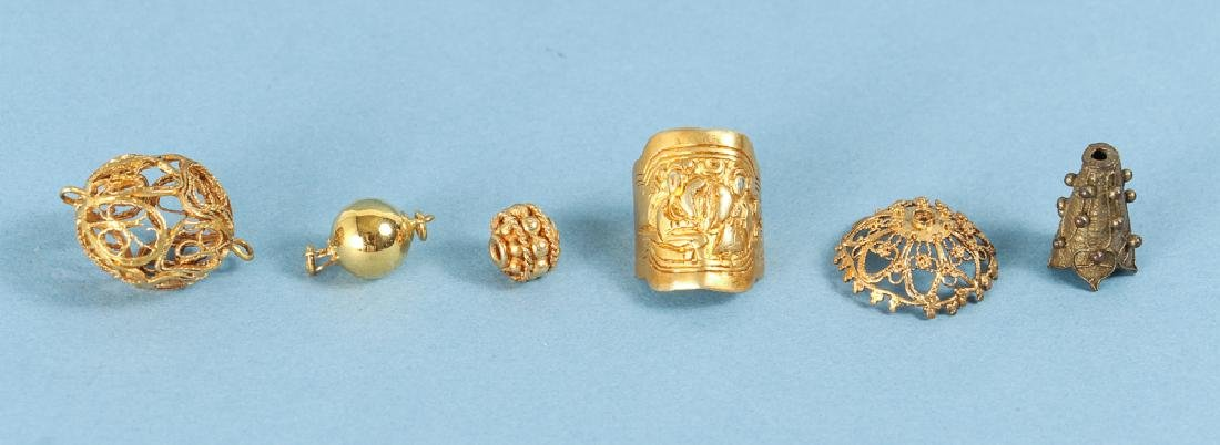 Large Group of Gold Washed Beads and Fittings - 4