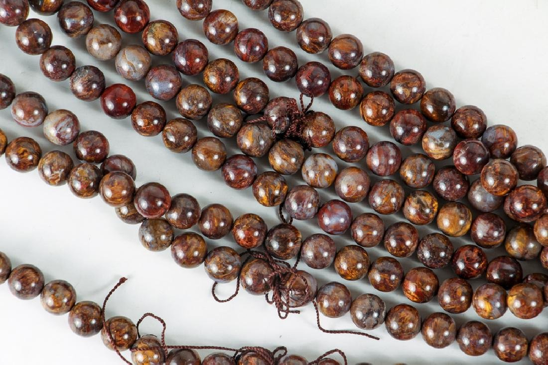Large Group of Brown Agate Beads - 6