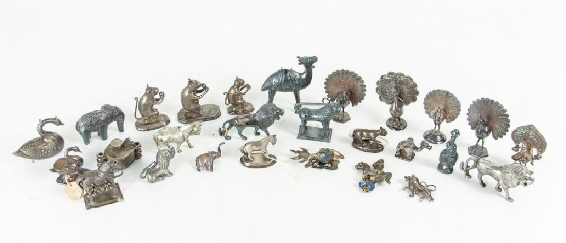 Large Group of Silvered Metal Animals