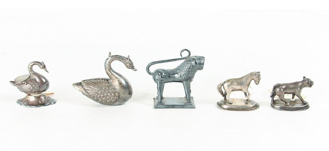 Large Group of Silvered Metal Animals - 6