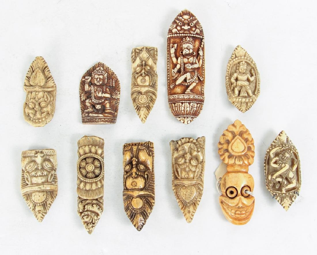 Large Group of Carved Bone Pieces - 6