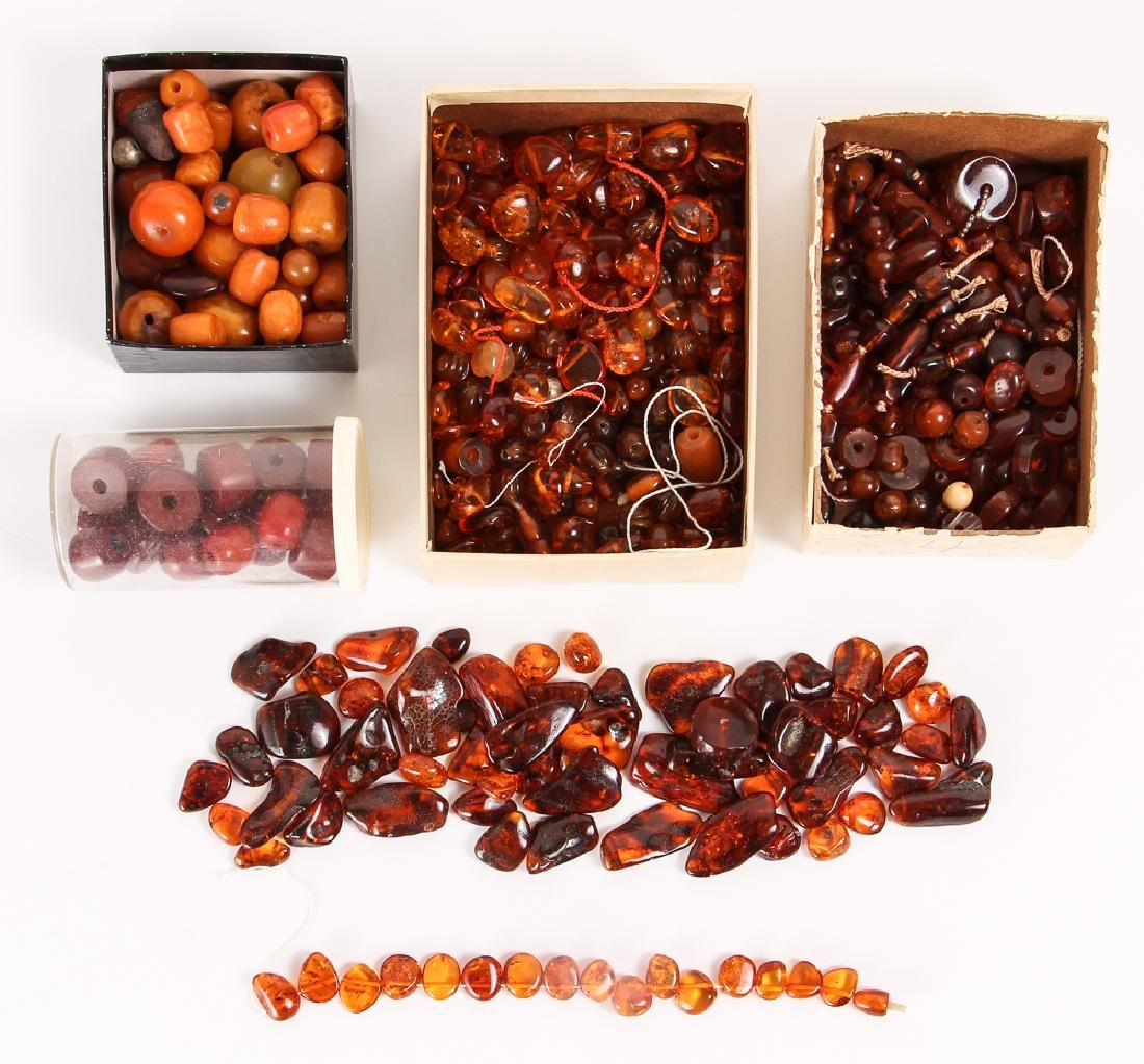Large Group of Amber and Other Beads