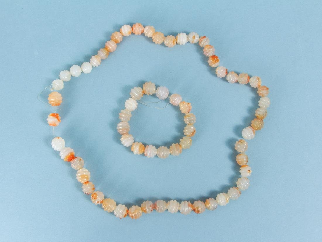 Large Group of Peach and Orange Agate Mineral Beads - 2