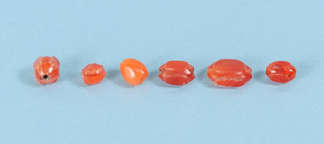 Large Group of Peach and Orange Agate Mineral Beads - 4