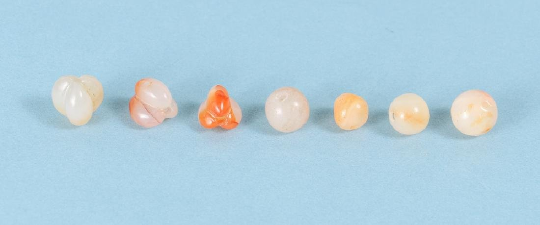 Large Group of Peach and Orange Agate Mineral Beads - 5