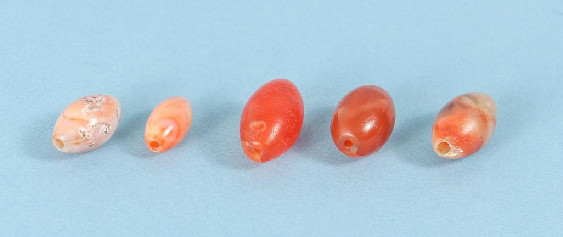 Large Group of Peach and Orange Agate Mineral Beads - 6