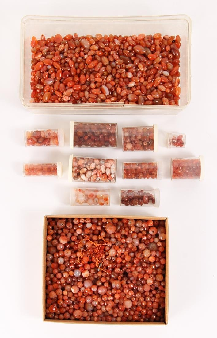 Large Group of Orange Agate Mineral Beads