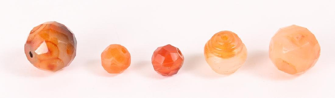 Large Group of Orange Agate Mineral Beads - 6
