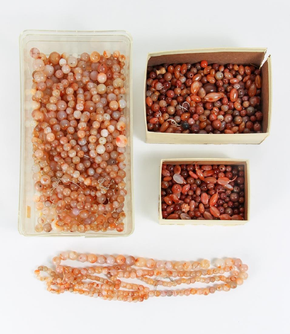 Large Group of Orange Colored Agate Mineral Beads