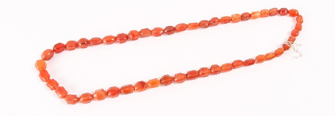 Large Group of Orange Colored Agate Mineral Beads - 8