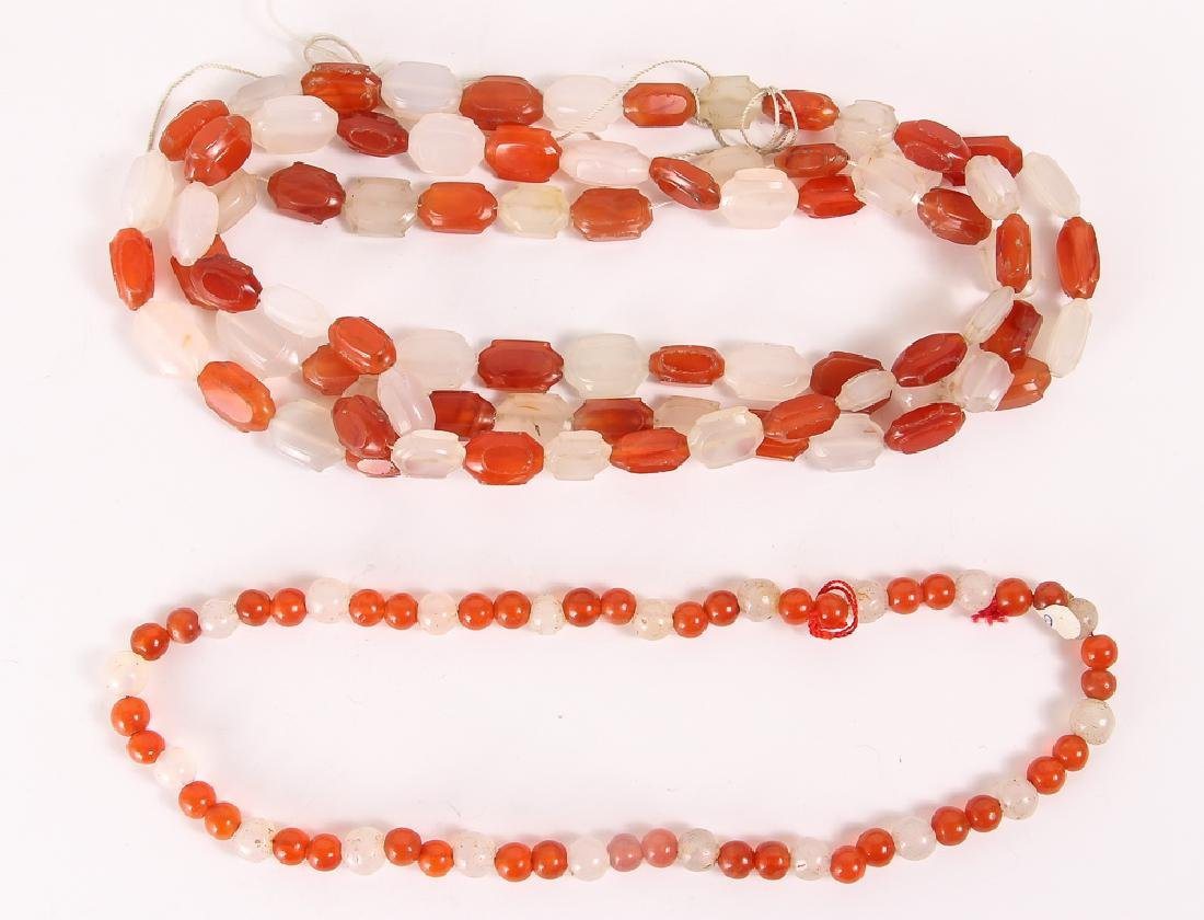 Very Large Group of Orange Colored Agate Mineral Beads - 2