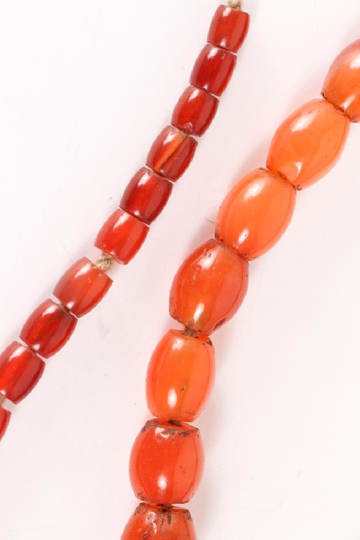 Very Large Group of Orange Colored Agate Mineral Beads - 5