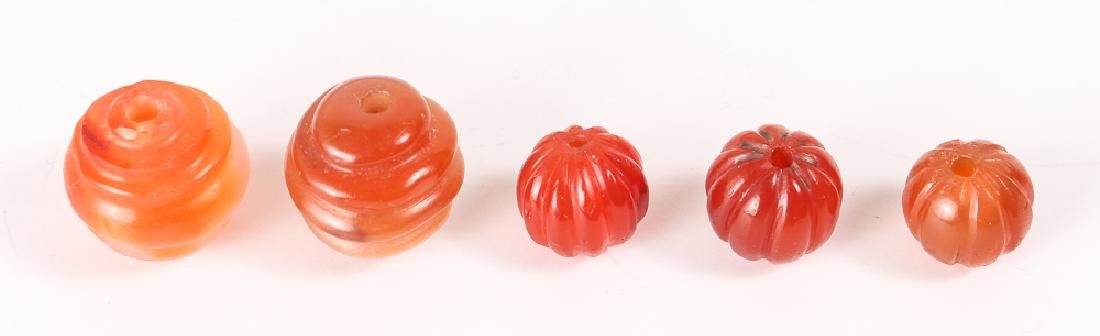 Very Large Group of Orange Colored Agate Mineral Beads - 8